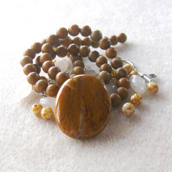 Crazy Lace Agate Pendant, Scenic Jasper Beads, Glass Pearls, DIY Jewelry Kit, Craft Supply, Jewelry Making Beads, Bead Combo, Gemstone Beads