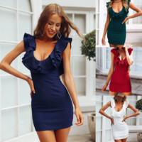 Women'S Sexy V-Neck Backless Bag Hip Dress