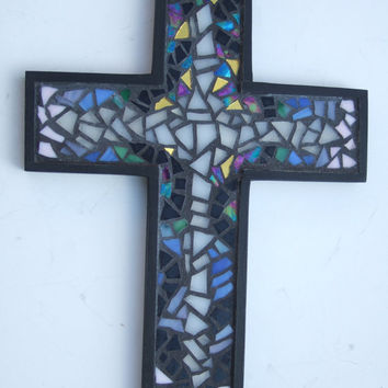 Mosaic Wall Cross, Multicolored Stained Glass Mosaic Design, Handmade