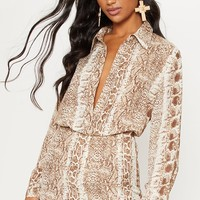 Brown Snake Print Oversized Shirt
