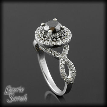 Round Cut Black Diamond Ring with Black and White Diamond Double Halo - LS1240