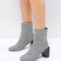 River Island Check Square Toe Block Heel Boots at asos.com