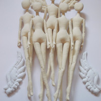 SET of 5 Blank Doll BODIES for crafting -  handmade doll- PreSewn and Stuffed Blank Doll Body - premade doll- cloth doll body