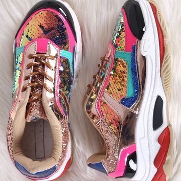 Colorblock Sequin Accent Lace Up Platform Sneaker