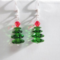 Sterling Silver Swarovski Crystal Christmas Tree Earrings, Swarovski Christmas Earrings, Christmas Gift for her, Christmas Tree Earrings