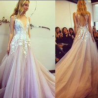 Light Purple Applique Long Prom Dresses Evening Dresses