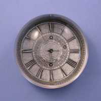 Silver Traveling Pocket Watch Large Glass Dome Paperweight Home Decor