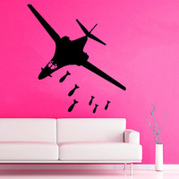 Wall Decals Plane With Bombs Airplane Military Aircraft Vinyl Decal Sticker Home Art Mural Interior Design Boy Kids Nursery Room Decor D938