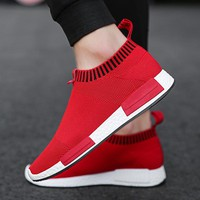 Weweya Ultra-Light Jogging Running Shoes for Men 2018 Cool Trainers Breathable Mesh Sport Shoes Slip-On Red Black White Sneakers