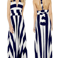 Versatile Straps Navy White Stripe Maxi Dress