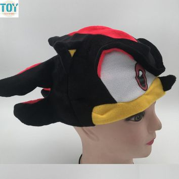 OHMETOY Sonic Hat The Hedgehog Fleece Cosplay Plush Cap For Man Boy Adults Teenagers Blue Black Anime Costumes Brinquedos