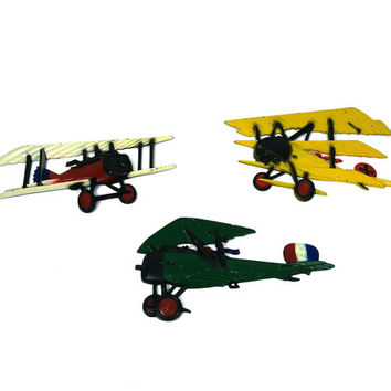 Vintage die cast metal airplanes Sexton & Homco wall hangings / WWI biplanes / Set of 3