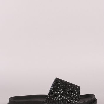 Open Toe Glitter Encrusted Band Flatform Slide Sandal