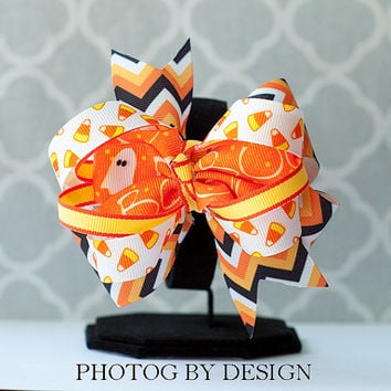 Halloween Hairbow - layered Candy Corn and Ghosts