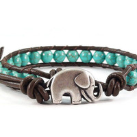 Elephant Leather Bracelet, Beaded Bracelet, Blue