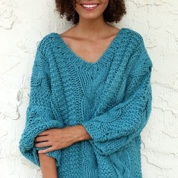Cable Knit Dropped Shoulder Sweater - Emerald by POL Clothing