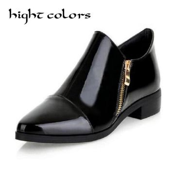 Solid Color Fashion Patent Leather Pointed Flat Shoes Women Oxfords England Style Thick With Bare Boots Big Size 34~43