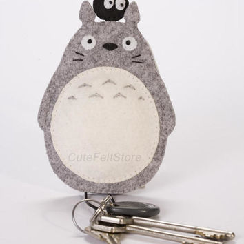 "Ready to ship Totoro Felt Keychain 4.7"", Soot Sprites, bag accessory, Kawaii Keychain, key pouch, key ring, keyfob"