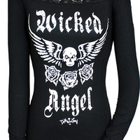 "WOMEN'S ""WICKED ANGEL"" OFF SHOULDER LACE TEE BY DEMI LOON (BLACK)"
