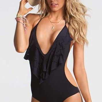 One Piece Bathing Suit 2018  Swimsuit Swimwear Women Bathing Suit Swim Vintage Summer Cut Out Beach Monokini Swimsuit Brazilian Biquini KO_9_1