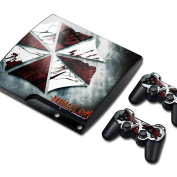 Resident evil sticker skin set for ps3 slim