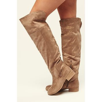 Level Up Faux Suede Over The Knee Boots (Taupe)