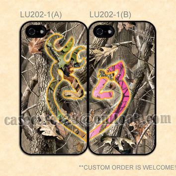 LU202-1 Love Browning Deer Camo Couple,iPhone 4/4s/5/5s/5C,Samsung Galaxy S2/S3/S4/S5/Note 2/3 Lite,Htc One S/X/M7/M8 mini,Moto E/G cover