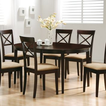 Coaster 100770-74 5 pc monrovia iii collection espresso finish wood oval top dining table set