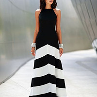 ( 2 Days FREE SHIPPING ) Women's Polyester Multicolor Stripe Sleeveless A-line Maxi Dress