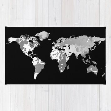 Floor Rug, World Map Decor, 2x3, 3x5, 4x6 Floor Rug, Gift for Him, for Teacher, for Student, Dorm Room Decor, Classroom Decor