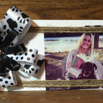 Puppy Dog paw print ribbon bow reclaimed repurposed wood shelf sitter photo display picture frame FREE SHIPPING within the USA