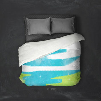 Duvet Cover, abstract bedding, sparkling bedding, green duvet cover, blue duvet cover, Bedding, Home Interior Decoration