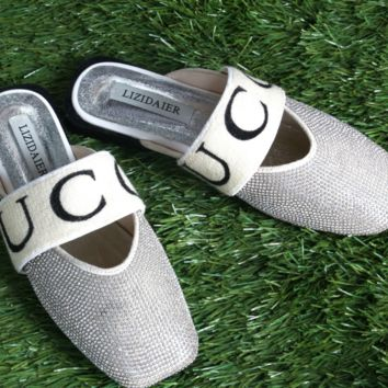 GUCCI Summer new fashion water drill full shining diamond flat shoes fashion casual single shoe slippers sandals Silver