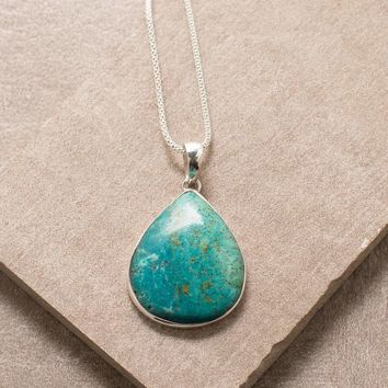 Chrysocolla Necklace - 24 inch Silver Chain