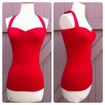 Red BOMBSHELL Halter Top, PIN UP Rockabilly Lace Trimmed Sweetheart Neckline Shirt Sexy Retro Blouse Sizes xs, small, medium, large, xl, xxl