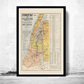 Old Map of Israel Palestine Jesus, 1905, Middle East, Religious, Thematic