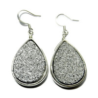 Druzy Dangle Teardrop Earrings