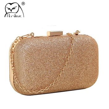UKQLING Gold Box Bag Women Clutch Evening Bags with Chain Ladies Bag Day Clutches Purse and Handbag Sac a Main Phone Package