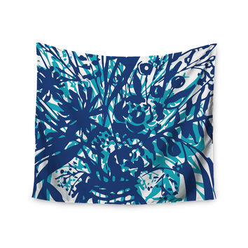 """Patternmuse """"Inky Floral Navy"""" Blue Teal Painting Wall Tapestry"""