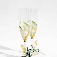 Wedding Glasses Hand Painted Calla Lily Toasting Flutes set of 2 Swarovski crystals