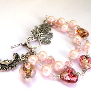 Gift for yourself.Bridesmaid gift.Gift for sister.Gift for your.Wedding bracelet.Pink bracelet.Lampwork bracelet.Glass bracelet.Gift for her