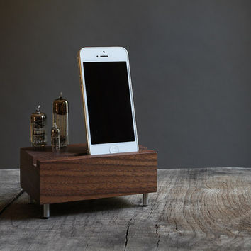 Universal dock for iPhone Samsung Galaxy handcrafted from walnut wood with triple electron tubes