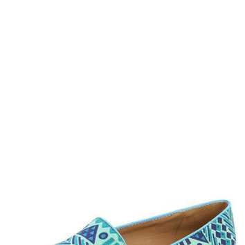Nature Breeze Leila-36 Green Tribal Aztec Loafer Flats and Shop Shoes at MakeMeChic.com