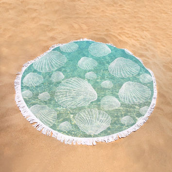 Round Beach Towel - Microfiber, Plush, Cotton, Summer, Beach, Boho, Bohemian, Boho, Hippie, Designer, Art, Water, Turquoise, Shell, Style