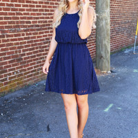 Crochet Bliss Dress {Navy}