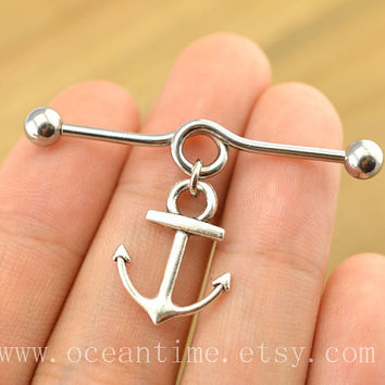 anchor industrial barbell piercing,anchor industrial barbell earring jewelry, cute anchor ear jewelry,friendship jewelry,oceantime