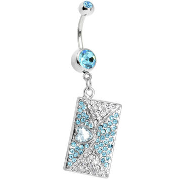 Aqua Gem Love Letter Dangle Belly Ring