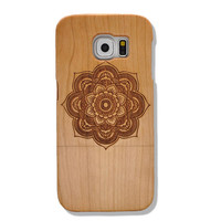 Sunflower Pattern Unique Design Samsung Galaxy S6 Case Unique Real Handmade Natural Wood Wooden Case Cover