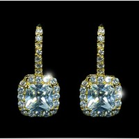 Maribel Radiant Cut Halo Drop Gold Dangle Earrings | 4.5ct | Cubic Zirconia | Gold