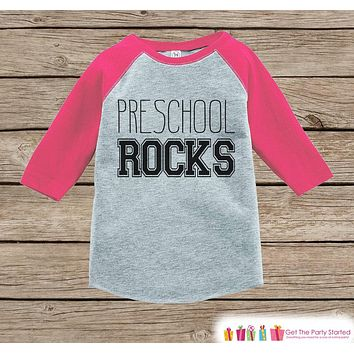 Girls Preschool Shirt - Pink Back to School Outfit - Novelty Pin d1f71403de
